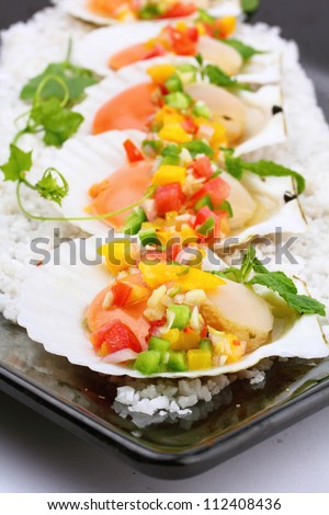 Seared scallops with tropical salsa, Macro closeup for design work