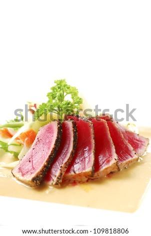 Seared Tuna with Salad - stock photo