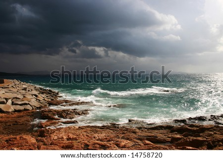 Seascape after a storm - stock photo