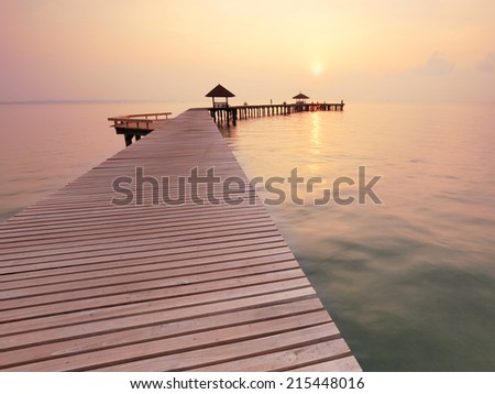 seascape and the wooden bridge on summer morning - stock photo