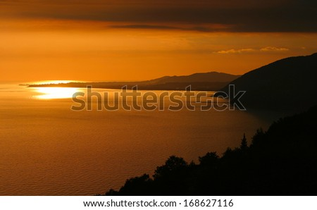 seascape beautiful scenic sunset over black sea off the coast of Abkhazia summer evening