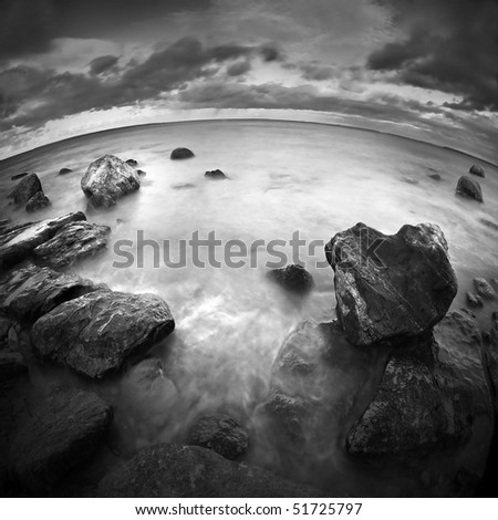 Seascape by fish-eye lens - stock photo
