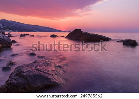 Seascape in the early morning before sunrise. Black Sea, Crimea - stock photo