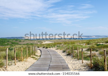 Seascape. Large view on pyla dune. Aquitaine, france - stock photo