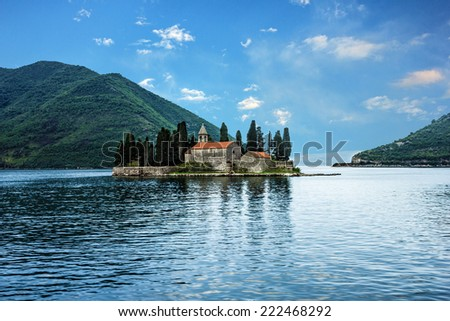 Seascape, Monastery on the island in Perast, Montenegro. - stock photo