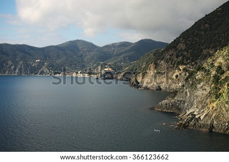 Seascape. Monterosso al Mare is located on the other side of the beach. Vernazza. Cinque Terre. Italy. - stock photo