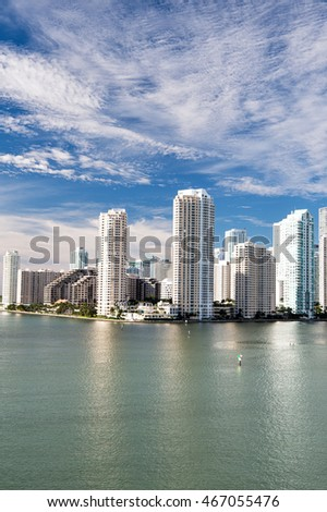 Seascape of Bayside in Miami downtown with buildings and skyscrapers