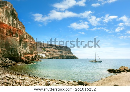 Seascape of coast of Puerto de Mogan. Gran Canaria. Canary Islands.  - stock photo