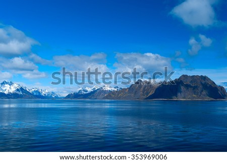 Seascape of Lofoten Islands in Norway - stock photo