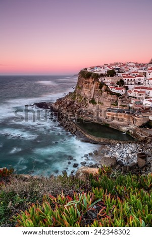 Seascape of the Portuguese town. Azenhas do mar. - stock photo