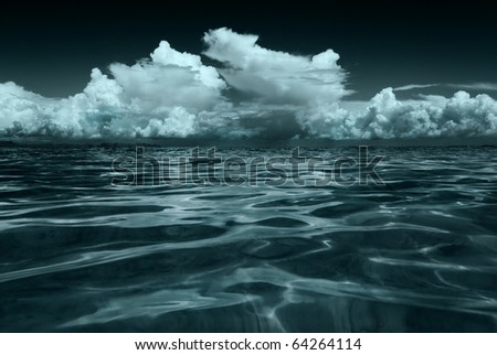 seascape stained in blue color 1 - stock photo