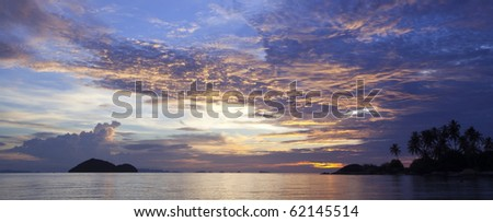 Seascape Sunset in the Golf of Thailand at Koh Phangan! - stock photo
