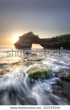 Seascape tanah lot in indonesia - stock photo