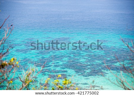 Seascape top view, Overlooking the crystal clear water sand adn rocks branches as photoframe. - stock photo