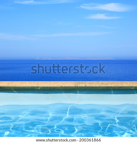 Seascape view from pool side - stock photo