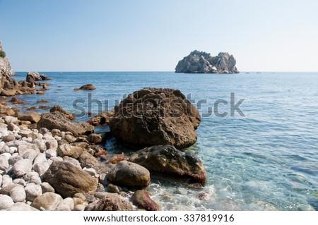 Seascape view of Black Sea shoreline and Adalar islands, south of Crimea - stock photo