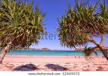 Seascape view of Kuta beach, Lombok, Indonesia. - stock photo