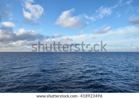 Seascape. View of the open Baltic sea with beautiful sunset clouds. - stock photo