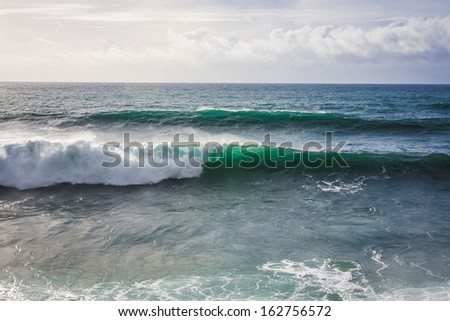 Seascape view with a amazing waves in Madeira island,Portugal