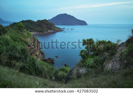 Seascape viewpoint of Chanthaburi province at sunset.