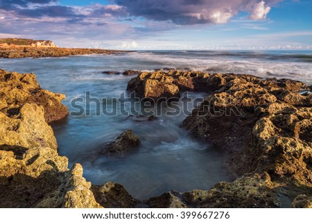 Seascape waves in motion.  - stock photo