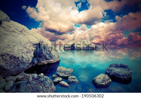 Seascape, which creates a dreamy mood. Vintage style - stock photo