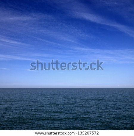seascape with clouds in the in the Basque country - stock photo