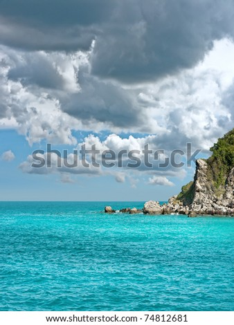 Seascape with Gulf of Thailand. Island Koh Lan