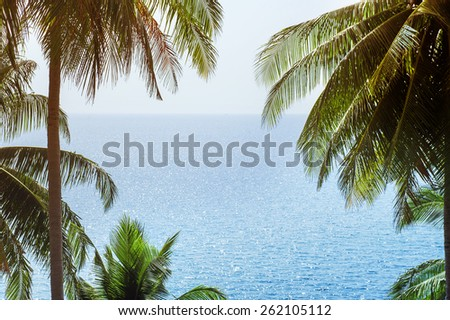 seascape with palm trees located by sides of frame - stock photo