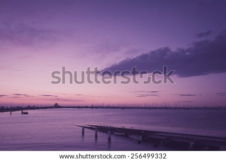 Seascape with pastel tone color - stock photo