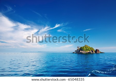 Seascape with small island, Trat archipelago, Thailand - stock photo