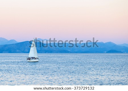 Seascape with yacht - stock photo