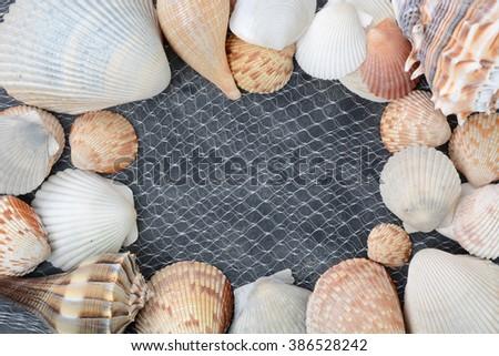 seashells and net on black sand background - stock photo