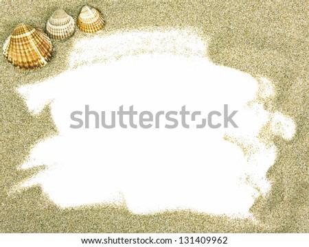 Seashells and sand - stock photo