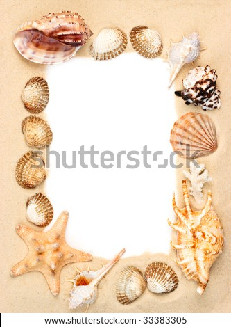 Seashells and starfish on sand picture frame - stock photo