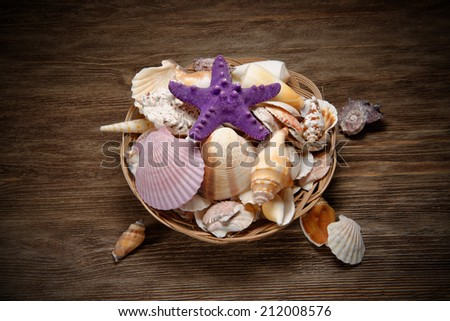Seashells on the old rustic table - stock photo