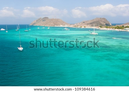 Seashore of archipelago Los Roques from the bird's eye view - stock photo