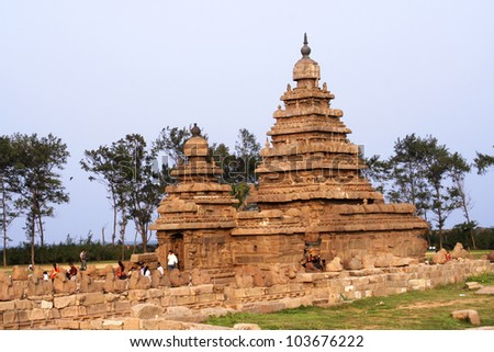 Seashore Temple,UNESCO heritage site,Mamallapuram,India - stock photo