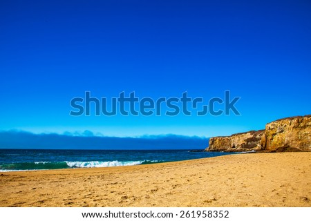 Seaside beach and cliff Santa Cruz.  Bonny Doon beach cliff.