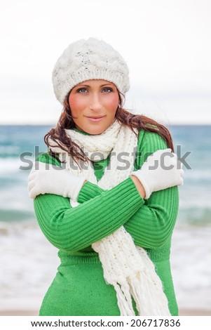 seaside beach travel in winter  - stock photo