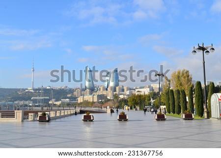 Seaside boulevard in Baku, Azerbaijan - stock photo