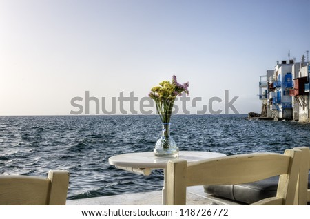 Seaside cafeteria in Little Venice, Mykonos island, Greece - stock photo