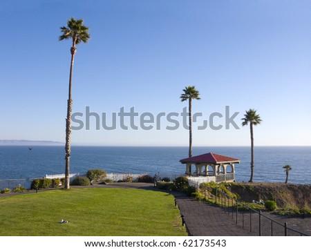 Seaside gazebo at Pismo Beach bluffs, California - stock photo