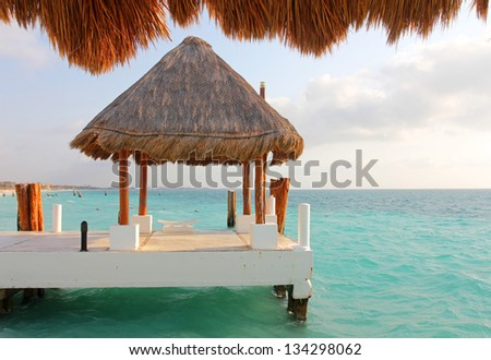 Seaside gazebo for wedding ceremony - stock photo