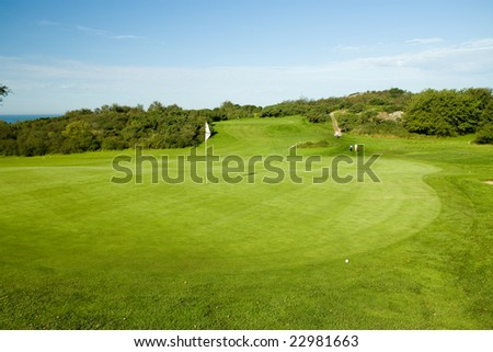Seaside golf course in Molle, Sweden - stock photo