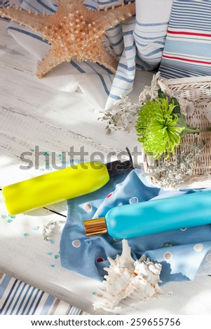 Seaside spa: shower gels, body creams, foot pumice and a flower set with seashells and home decorations, marine theme, natural light shot - stock photo