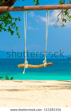 Seaside Swing Holiday Memory - stock photo