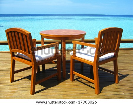 Seaside Table And Chairs - stock photo