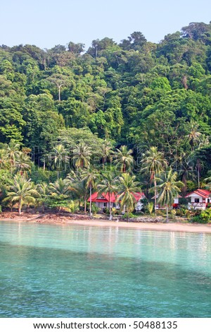 Seaside Villa in the jungle. Koh Wai, Thailand - stock photo
