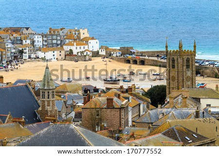 Seaside Village of St. Ives, Cornwall, UK. Roof top view of the harbor - stock photo